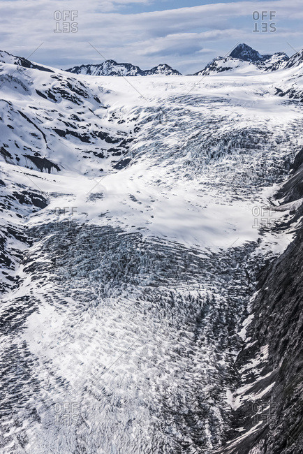 Aerial View Of Whiteout Glacier In The Chugach Mountains Near Anchorage, Chugach State Park; Alaska, United States Of America