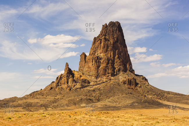 A Rugged, Peaked Rock Formation In The Desert; Arizona, United States Of America