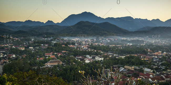 Silhouette Of Mountains And The View From Mount Phousi; Luang Prabang, Luang Prabang Province, Laos