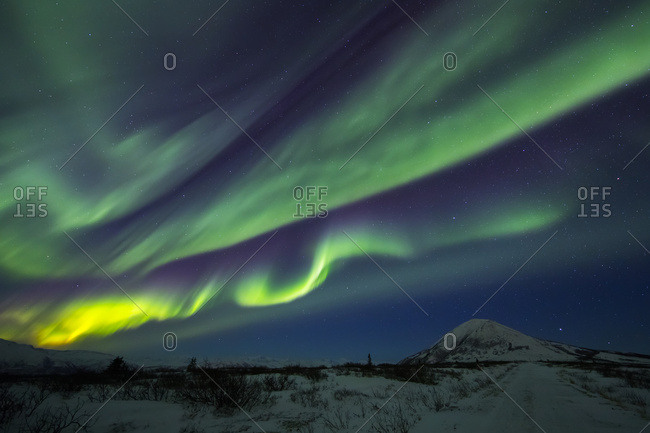 Aurora Borealis Dances Over Donnelly Dome, South Of Delta Junction; Alaska, United States Of America
