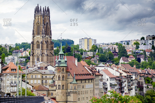 The Gothic Cathedral Skyline Of The Picturesque Historic Walled City Of Fribourg, In The French Speaking Part Of Switzerland; Fribourg, Switzerland