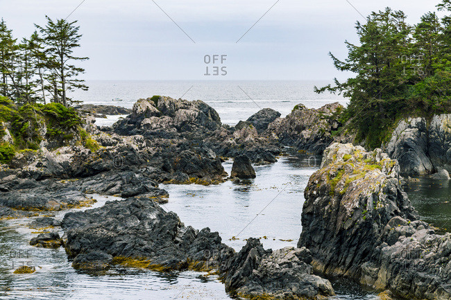 The Rocky Scenic Viewpoint Of A Secluded Ocean Cove On The Rugged West Coast Of Vancouver Island Along The Lighthouse Hiking Trail; Ucluelet, British Columbia, Canada
