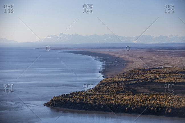Cook Inlet And Point Mackenzie On A Clear Autumn Day, The Snow Covered Tordrillo Mountains In The Distance; South-Central Alaska; Anchorage, Alaska, United States Of America