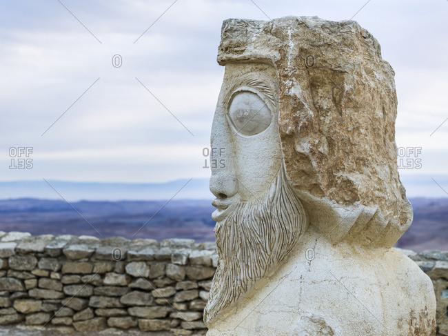 Stone Statue Of Head, Ramon Nature Reserve; Mitspe Ramon, Israel
