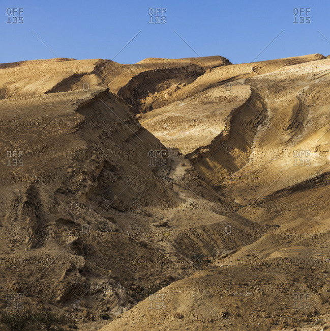 Arid And Barren Landscape In The Arava Valley, Negev Desert; Har Hanegev Hatzfoni, South District, Israel