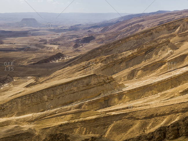 Arid And Barren Landscape In The Arava Valley, Negev Desert; Har Hanegev Hatzfoni, South District, Israel