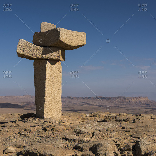Stone Sculpture At The Northern Peak Of Ramon Crater, Negev Desert; Mitzpe Ramon, South District, Israel