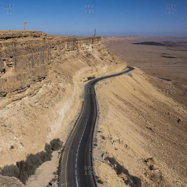 A Paved Highway Going Through Ramon Nature Reserve; Mitzpe Ramon, South District, Israel