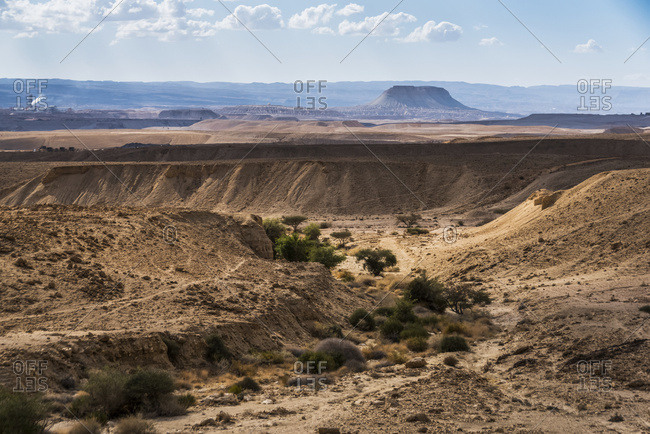 Arid Landscape Of The Negev Desert; Har Hanegev Hatzfoni, South District, Israel