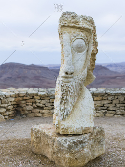 Stone Sculpture Of A Face In Male Likeness; Mitzpe Ramon, South District, Israel