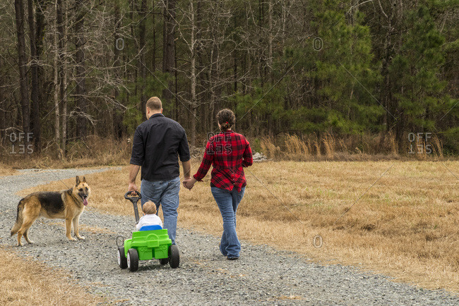 A Caucasian Mother With Brown Curly Hair Wearing A Black And Red Plaid Shirt And A Caucasian Father Wearing A Black Shirt Pull Their One-Year-Old Son In A Green Wagon On A Gravel Road With Their German Shepard Following Along; New Hill, North Carolina, United States Of America