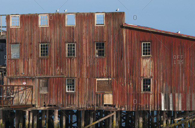 March 8, 2012: The Big Red Net Shed Is A Prominent Riverfront Landmark; Astoria, Oregon, United States Of America