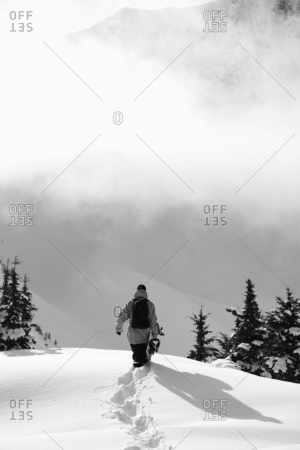 March 18, 2009: Snowboarder Walking Through Deep Snow On A Mountain; Haines, Alaska, United States Of America