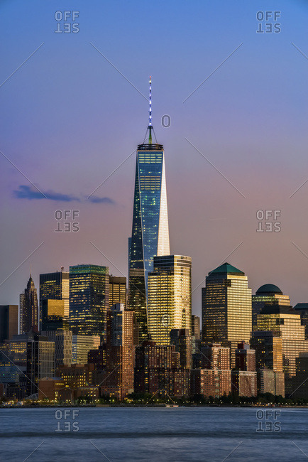 October 8, 2014: World Trade Center And Lower Manhattan At Sunset As Viewed From Hoboken, New Jersey; New York City, New York, United States Of America