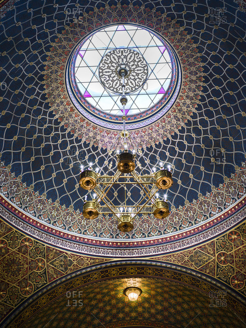 May 23, 2017: Ornate Design Of A Domed Ceiling And Hanging Light Fixture In The Spanish Synagogue; Prague, Czech Republic