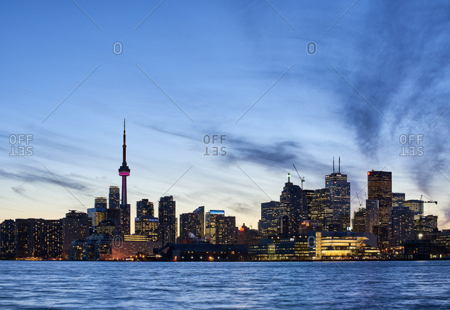 April 19, 2016: Skyline Of Toronto At Sunset With Lake Ontario In The Foreground; Toronto, Ontario, Canada