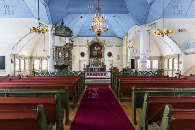 March 14, 2017: Interior Of Arjeplog Church, The Pretty Pink Church; Arjeplog, Norrbotten County, Sweden