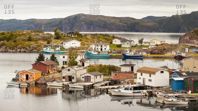 September 23, 2016: A fishing village with colorful sheds and houses along the Atlantic coastline; Bonavista, Newfoundland, Canada