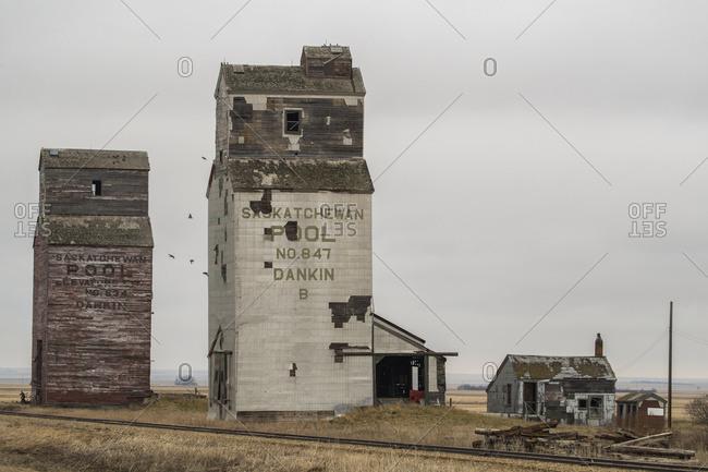 April 27, 2017: Abandoned grain elevators in rural Saskatchewan; Saskatchewan, Canada