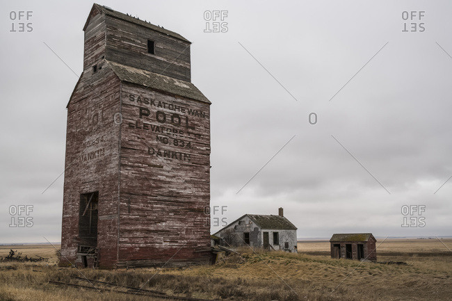 April 27, 2017: Abandoned grain elevator in rural Saskatchewan; Saskatchewan, Canada