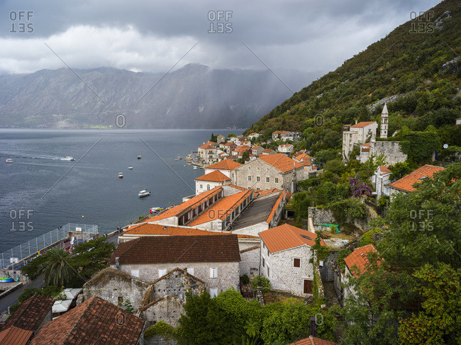 December 21, 2017: Houses and boats along the Bay of Kotor; Perast, Montenegro