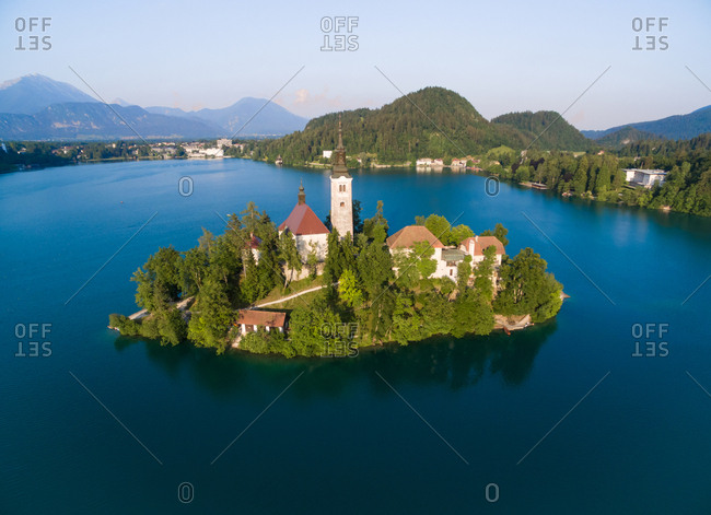 Aerial view of  Assumption of Mary church on lake Bled in Slovenia.