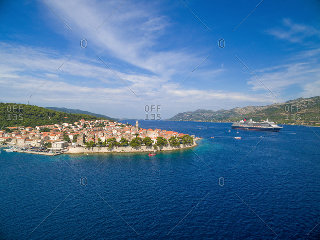 Aerial view of big cruiser anchored by the Korcula island, Croatia.