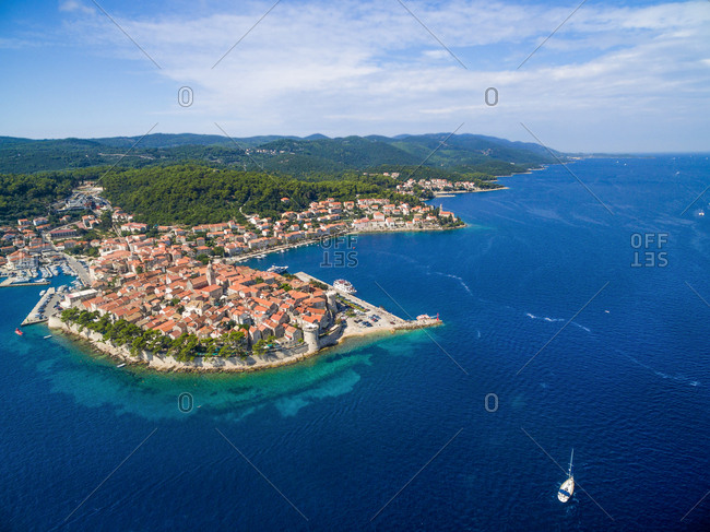 Aerial view of the Korcula island, Croatia.
