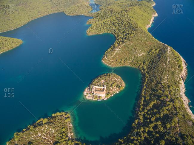 Aerial view of Monastery of Saint Mary on Mljet island, Croatia.