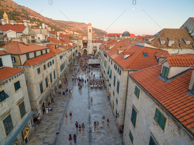 Aerial view of old city of Dubrovnik (Croatia) above Stradun street, popular tourist attraction on Adriatic.