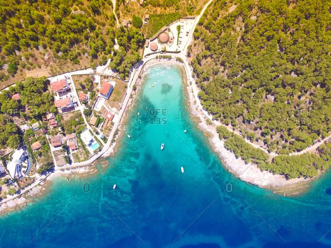 Aerial view of Sutivan bay on the island of Brac, Croatia