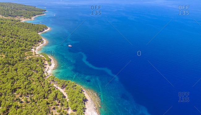 Aerial view of Sutivan coast on the island of Brac, Croatia