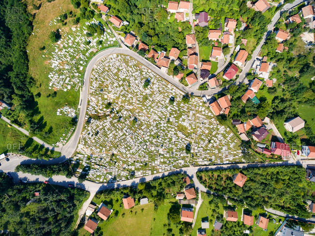 Aerial view of Ravne Bakije cemetery in Sarajevo, Bosnia and Herzegovina.