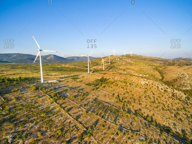 Aerial view of Jelinak windmill farm, Croatia.