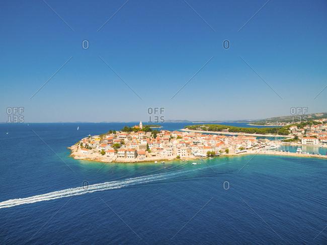 Aerial view of Primosten, popular Croatian summer destination.
