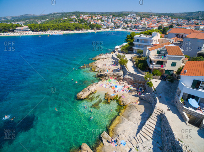 Aerial view of beach at Primosten, popular Croatian summer destination.