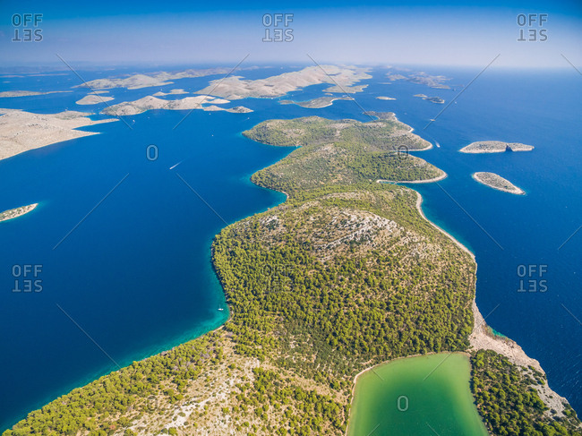 Aerial view of National park Telascica in Croatia