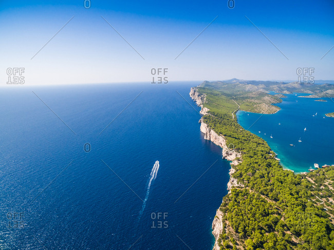 Aerial view of Lake Slano in National park Telascica in Croatia