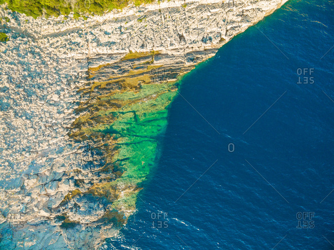 Aerial view of rock pool area in National park Telascica and in Croatia