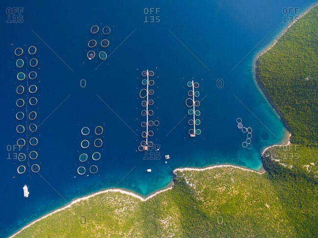 Aerial view of fish farming in Dugi Otok in Croatia