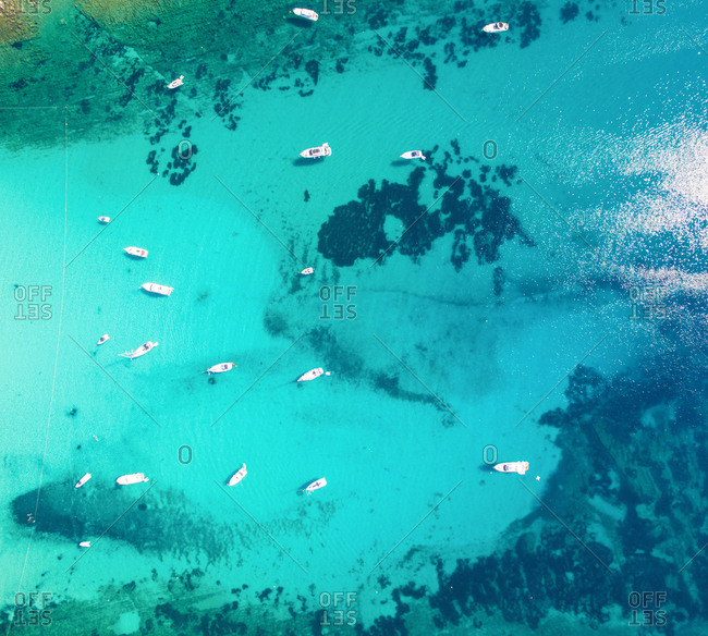 Aerial view of sailing boats and yachts in the bay of Sakarun on the island of Dugi Otok in Croatia