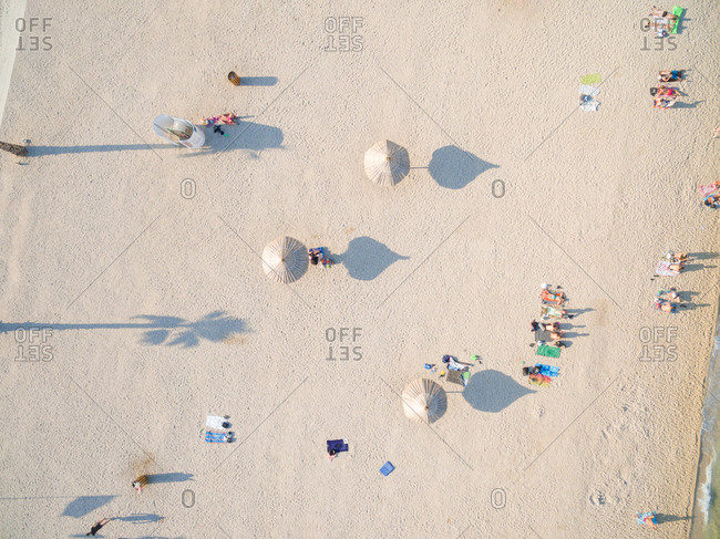 PAG, CROATIA - AUGUST 30, 2014: Aerial  of tourists at popular Zrce beach