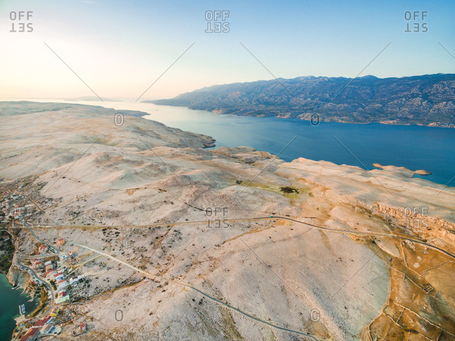 Aerial view of island of Pag and place Zubovici, Croatia.