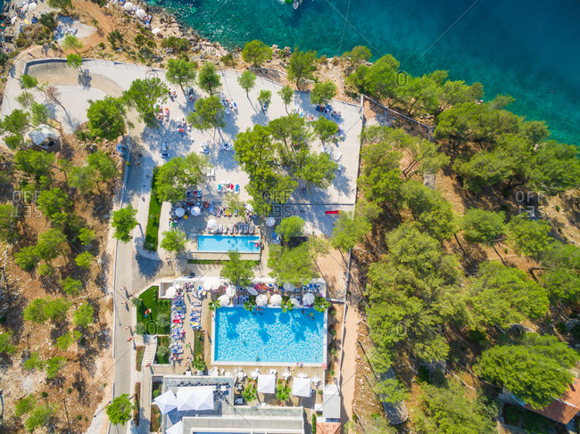BRAC ISLAND, CROATIA - AUGUST 2014: Aerial view of resort on the Adriatic coast.