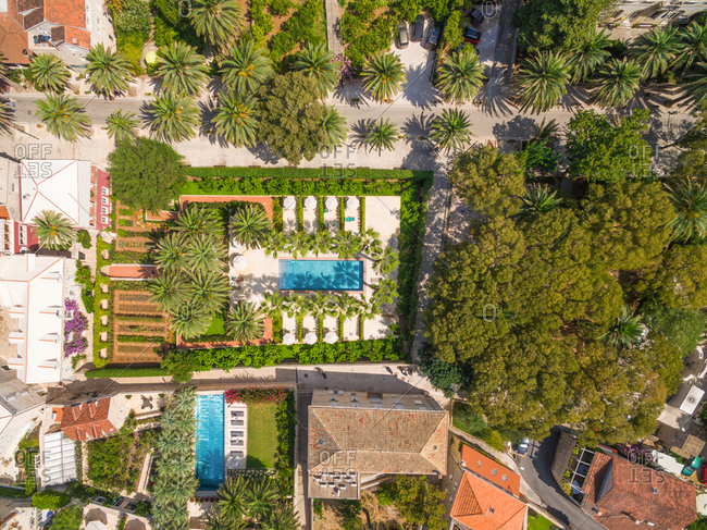 CROATIAN COAST - AUGUST 2014: Aerial view of luxury estate with pool