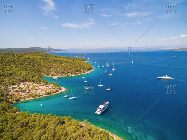 Aerial view of boats moored in Adriatic sea off the coast of Croatia.