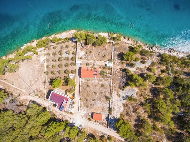 Aerial view of coastal properties in a bay on the Adriatic
