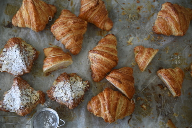 Overhead view of almond scones and croissants
