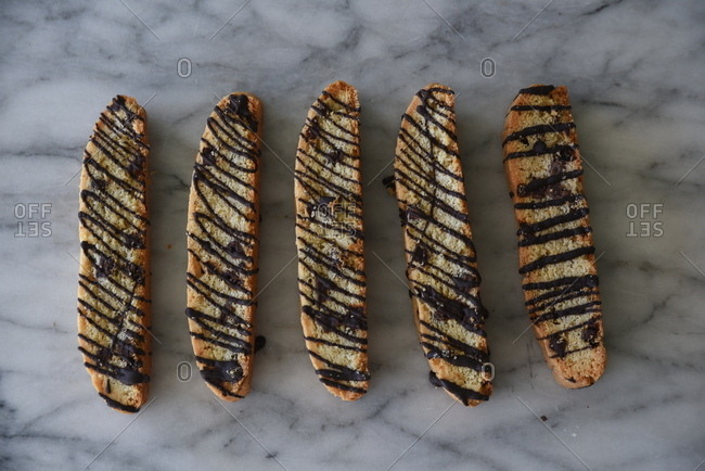 Biscotti drizzled with chocolate