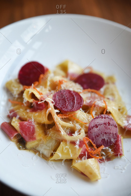 Pasta dish with pepperoni